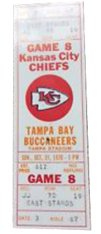 Kansas City Chiefs vs. Tampa Bay Buccaneers 1980 Game 4 Gameday ticket BuccaneersFan