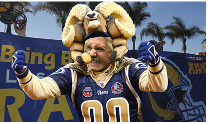 Los Angeles Rams fanatical fan Bruce Woodhall a Gladstone HS Graduate and resident of Onterio California BuccaneersFan