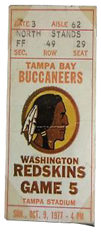 Washington Redskins vs. Tampa Bay Buccaneers 1980 Game 4 Gameday ticket BuccaneersFan