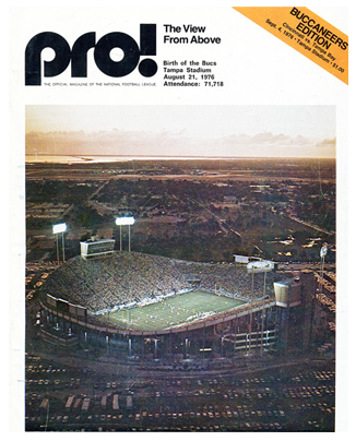 Sept. 4, 1976 pre-season game program between the Bucs and the Bengals shows view of Tampa Stadium on Aug. 21, 1976 for Bucs vs. Dolphins pre-season game