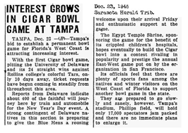 Newspaper artical to promote the Cigar Bowl Game in Tampa