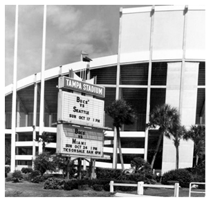 Tampa Stadium marquee at Dale Mabry Hwy. behind the west stands, 1976