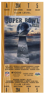 2009 Superbowl XLIII ticket hosted in Raymond James Stadium Pittsburgh Steeleers vs Arizona Cardinals