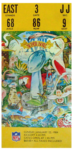 1984 Super Bowl ticket Raiders vs Redskins