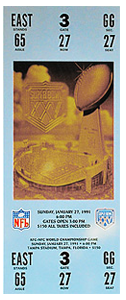 1991 Super Bowl ticket NY Giants vs Buffallo Bills
