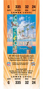 2001 Superbowl XXXV ticket hosted in Raymond James Stadium NY Giants vs Baltimore Ravens