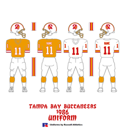 1986 Tampa Bay Buccaneers Uniform - Click To View Larger Image