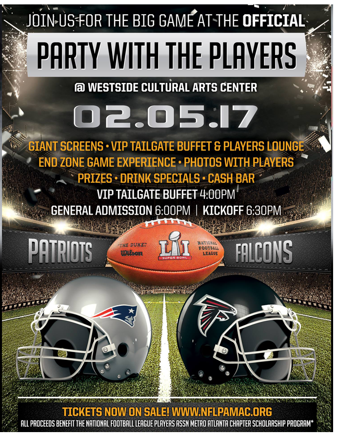 2017 Super Bowl Party promotional for the NFLPA ATL