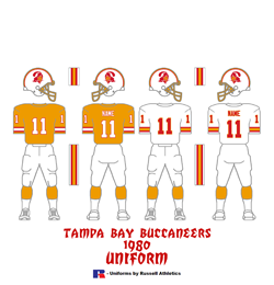1980 Tampa Bay Buccaneers Uniform - Click To View Larger Image