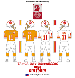 1985 Tampa Bay Buccaneers Uniform - Click To View Larger Image