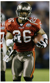 2002 Dwight Smith #26 intercepts during SuperBowl in Buccaneers Uniform and Jersey